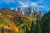 The Kamnik Alps with fall foliage color in the Logarska Dolina, Slovenia, Europe.