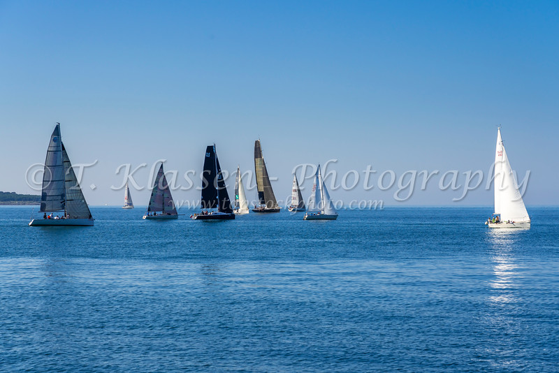 Recreational sailing with a variety of sailboats in the Adriatic Sea off the coast of Piran, Slovenia, Europe.