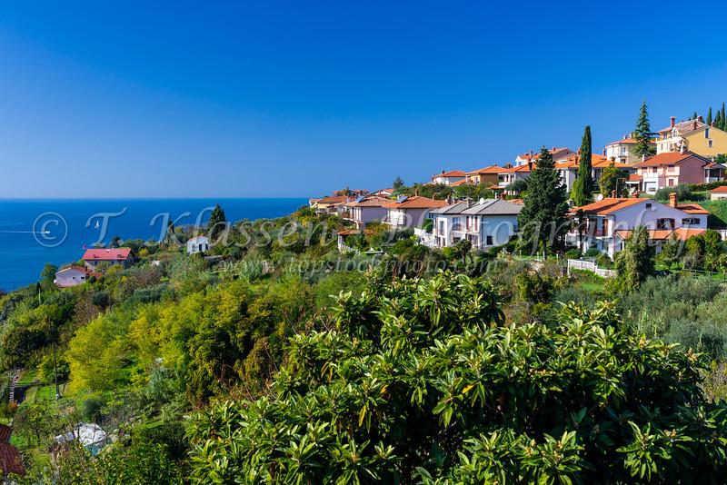 Hillside and Adriatic Sea view of Piran, Slovenia, Europe.