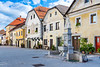 Architecture in the medieval town of Radovljica, Slovenia, Europe.