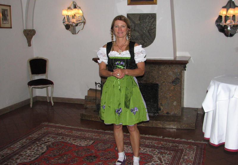 Tiziana, our leader in traditional Austrian dress at Hotel Post