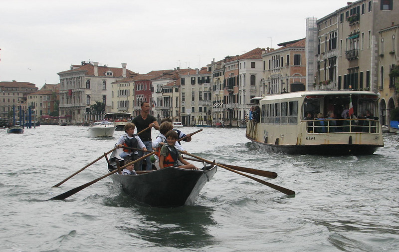 Future gondolieri on the Grand Canal