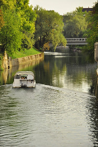 river scene from one many bridges in Ljubljana