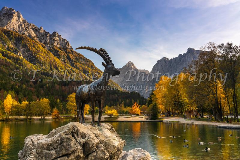 The Ibex Statue at Lake Jasna near Kranjska Gora, Slovenia, Europe.