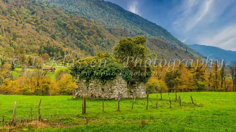 A farm barn with fall foliage color near Tolmin, Slovenia, Europe.
