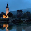 Dusk at Church of St. John, Lake Bohinj