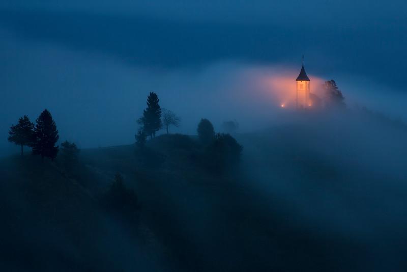 St. Primoz Lighted Church Dusk Fog