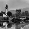 B&W Dusk at Church of St. John, Lake Bohinj