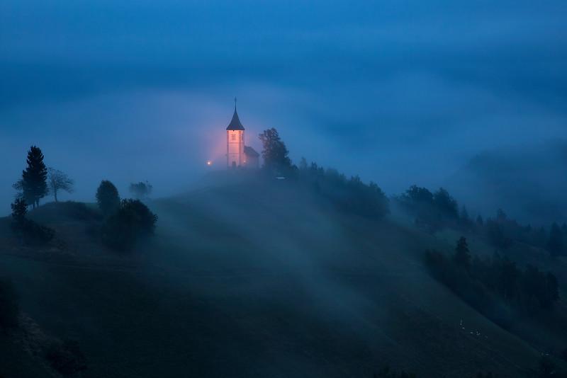St. Primoz Lighted Church Hillside Fog