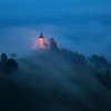 St. Primoz Lighted Church Hillside Fog