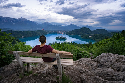 Enjoying the view over Lake Bled