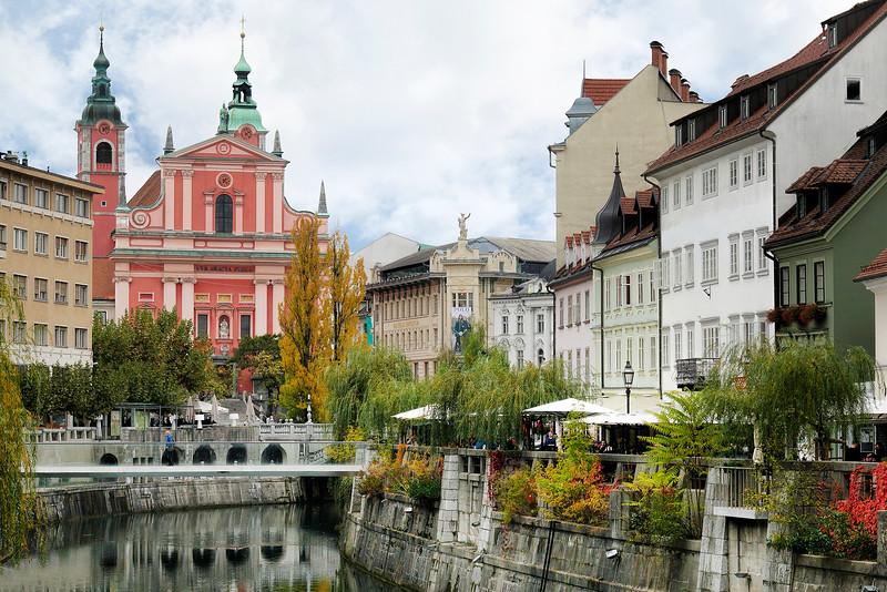 River Ljubljanica near Three Bridges, Slovenia