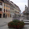 The town of Skofja Loka is small medieval Slovenia town, with a town square and a castle