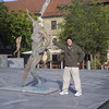 There is a ton of artwork in Ljubljana - not quite sure what this is, but I'm doing the John Travolta thing