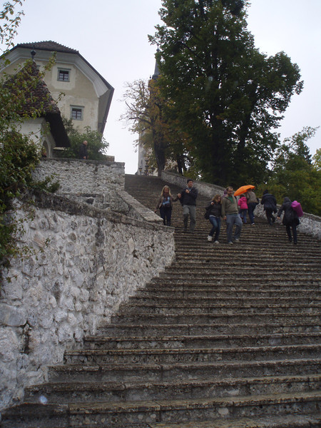 99 steps from lake level to the church