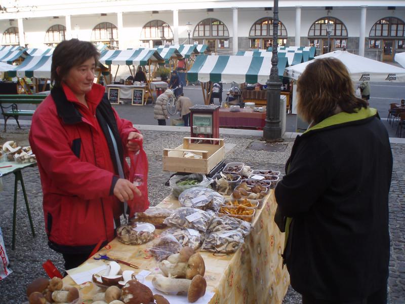 Nancy, buying fresh mushrooms at the market