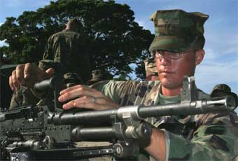 The M240G Machine Gun is the ground version of the original M240/M240E1, 7.62mm medium class weapon designed as a coaxial/pintle mounted machine gun for tanks and light armored vehicles.