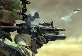 The M4 enables a soldier operating in close quarters to engage targets at extended range with accurate, lethal fire. It achieves more than 85 percent commonality with the M16A2 rifle and will replace all .45 caliber M3 submachine guns, selected M9 pistols, and M16 series rifles.