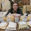 Participating in the Small Business Saturday was Pastaland in Leominster at 557 Lancaster Street. Employee Aria Fernandez shows off some of the pasta and sauce they had in their shop on Saturday. SENTINEL & ENTERPRISE/JOHN LOVE