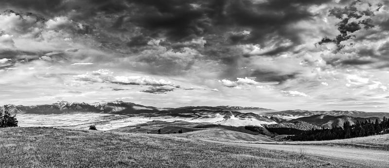 Montana Mountain Cloudy Sky B&W