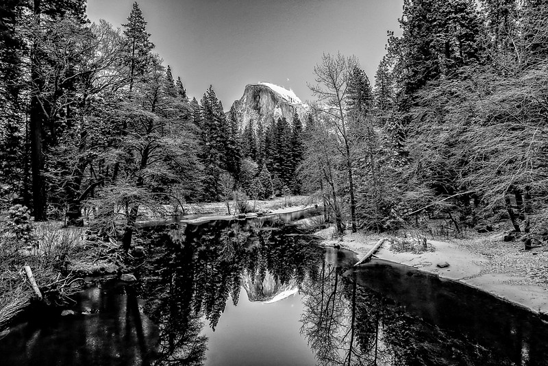 Yosemite Half Dome Reflection B&W