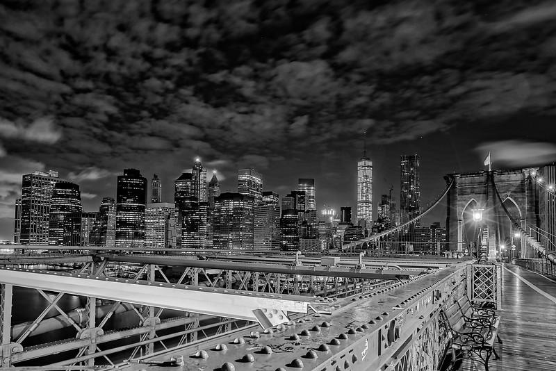 Manhattan From Brooklyn Bridge B&W