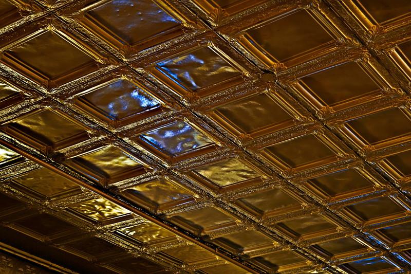 pressed tin ceiling, Main St. Tavern, Montevallo, Alabama