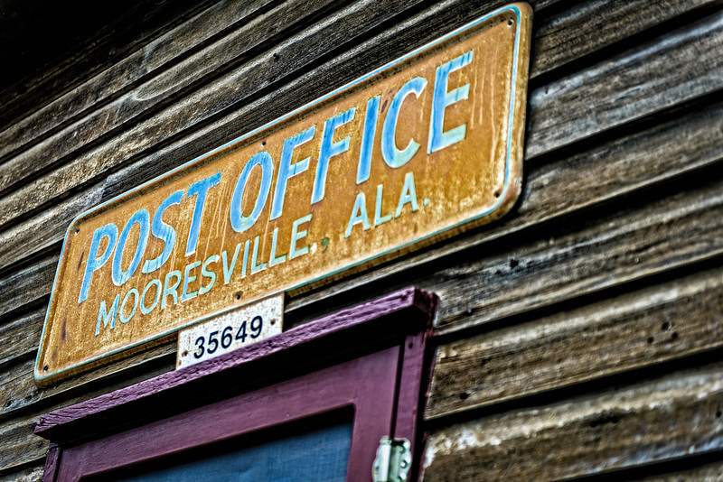 "Post Office, Mooresville, AL <p></p> Post Office, Mooresville, Alabama - (from the Town of Mooresville website, <a href=""http://www.mooresvillealabama.com/postoffice.htm"">http://www.mooresvillealabama.com/postoffice.htm</p>) It is the oldest operational post office in the state of Alabama and has served the community from the same building for over 150 years. The mailboxes and office furnishings are even older, having been transferred from the original post office in the tavern. The post boxes are numbered 1-48 and some families have had the same box number for several generations."