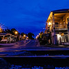 main street view from the tracks, photographed during the blue hour in Helena, Alabama