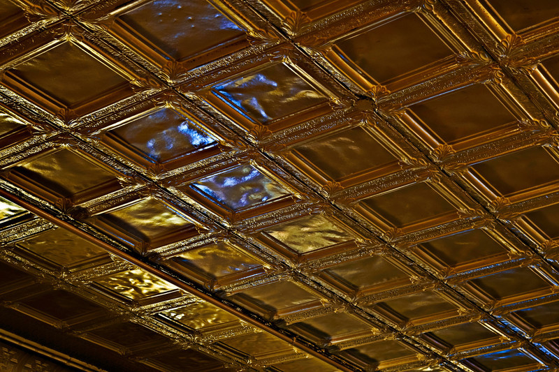 pressed tin ceiling, Main St. Tavern, Montevallo, Alabama