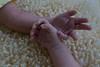 sisters' hands, 3 weeks old