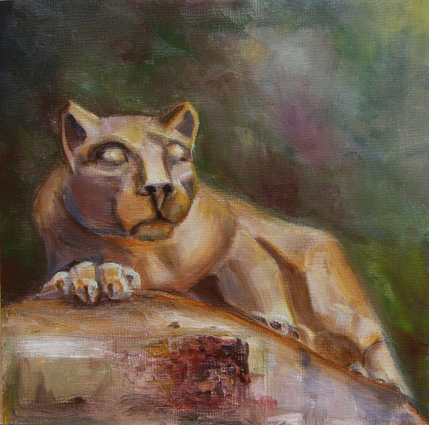 """Nittany Lion"" © 2010 Susie Morrell 6x6 original oil on panel; private collection"