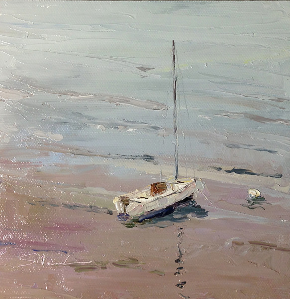 ©Susie Morrell: Sails at Rest on Schroon Lake,oil on panel,6x6<br />  Private Collection
