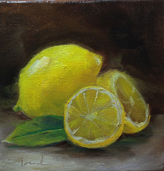 """Lemons"" © 2013 Susie Morrell 6x6 original oil on gallery wrap canvas; private collection"