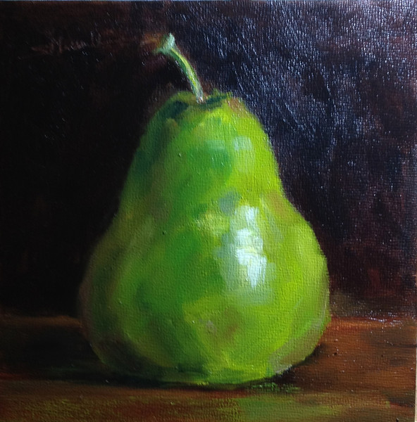 "©2013 Susie Morrell ""Pear"", 6x6 oil linen panel : private collection"
