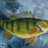 """Yellow Perch"" © 2013, Susie Morrell, 6x8, oil on panel. private collection"