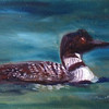 """Loon on Hubbard Lake"" © 2012, Susie Morrell, 8x6, oil on panel, Private Collection"