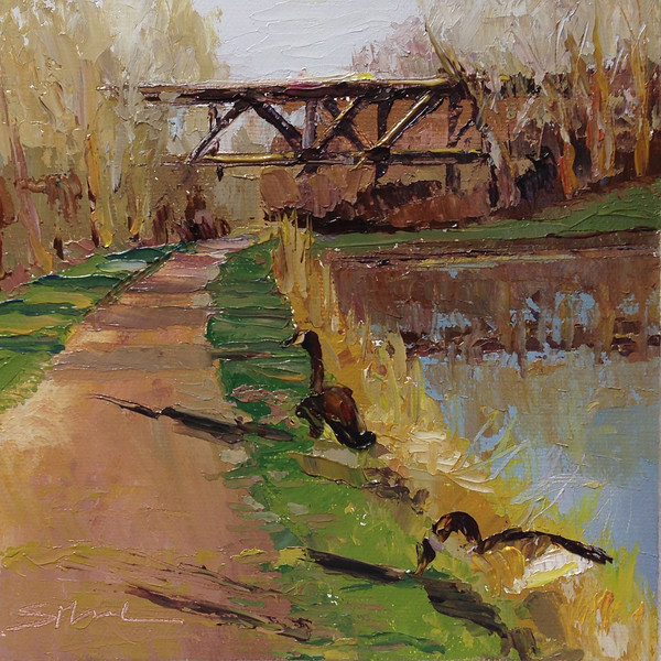 "©2013 SusieMorrell ""Canal Walk"" 6x6 oil on panel"