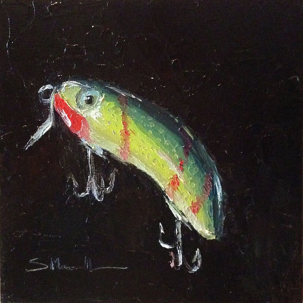 """Fishing Lure"" ©Susie Morrell, 6x6,  oil on panel<br /> TO PURCHASE click this link: <a href=""http://susiemorrell.blogspot.com/2013/09/30-in-30-day-25-fishing-lure-by-susie.html"">http://susiemorrell.blogspot.com/2013/09/30-in-30-day-25-fishing-lure-by-susie.html</a>"