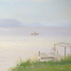 """Misty Morning at Hubbard Lake"" © 2012 Susie Morrell 8x6 original oil on panel; private collection"