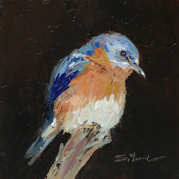 """Bluebird"" © 2012 Susie Morrell 6x6 original oil on panel; private collection"