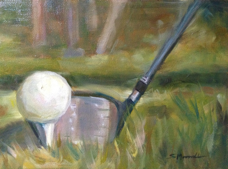 """Tee Time"" © 2012, Susie Morrell, 6x8, oil on panel Private Collection"