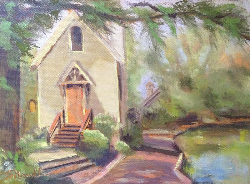 """Ye Old Library on Lake Afton"" ©Susie Morrell, 8x6, oil on panel private collection"