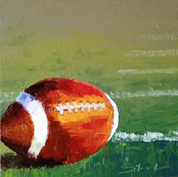 """First Down"" ©2013 SusieMorrell 6x6  oil on panel Private Collection"