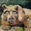 "©2013 SusieMorrell ""Nittany Lion"" 6x6 oil on panel<br /> Private Collection"