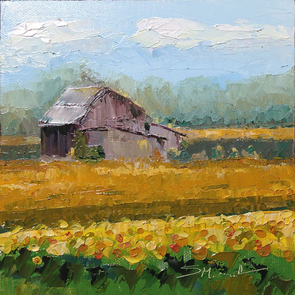 "©2013 Susie Morrell, ""SunflowerField"" 6x6, oil on panel Private Collection"