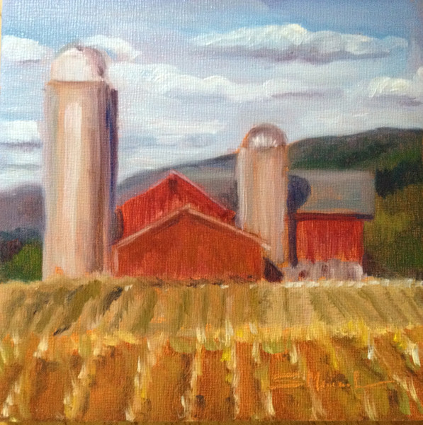 """Red Barn on a Sunny Day"" © 2012, Susie Morrell, 6x6, oil on panel Private Collection"