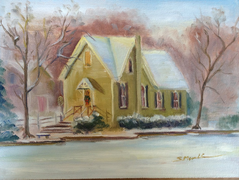 """Lake Afton, Yardley PA in December"" © 2011 Susie Morrell 8x6 original oil on panel; private collection"