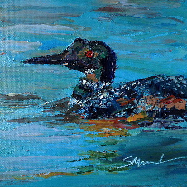 """30 in 30 Challenge Day 3: """"Loon"""" © 2013 Susie Morrell 6x6 original oil on panel; private collection"""
