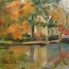 """Lake Afton in Autumn"" © 2012, Susie Morrell, 6x6, oil on gallery wrapped linen canvas Private Collection"